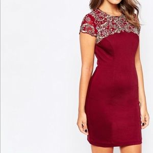 French Connection Aspen Sequin Burgundy Dress
